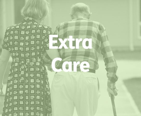 elderly couple from rear, extra care concept