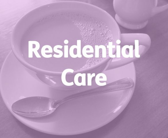 tea cup and saucer with spoon, residential care concept